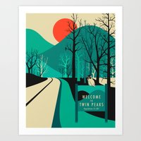 retro Art Prints featuring Twin Peaks by Jazzberry Blue