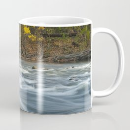 Autumn colors and water flowing on the Thornapple River Coffee Mug
