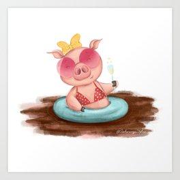 Summer Lovin Piggie Art Print