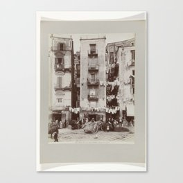 Strada di Santa Lucia in Naples with people on the street and drying laundry, Fratelli Alinari, c. 1 Canvas Print