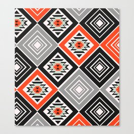 Aztec geometry with diamonds Canvas Print