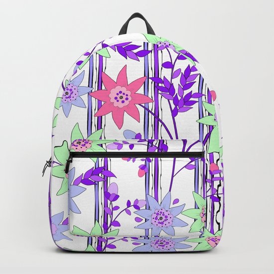 bright floral print. Backpack