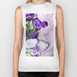 Colorful Purple Fluid Acrylic Pour Art - Digital Art Biker Tank