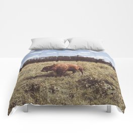 Bison in a field Comforters