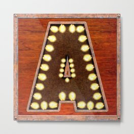 Monogram Letter A - Vintage Style Lighted Sign Metal Print