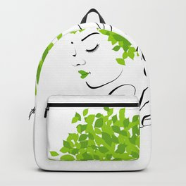 Mother nature with green leaves of spring as her hair- earth day Backpack