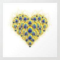 Peacock Heart Art Print