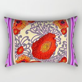 Decorative Lilac Poppy Floral Rectangular Pillow