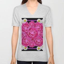 Black Pink on Pink Roses Purple Fuchsia & Daisy Flowers Art Design Unisex V-Neck