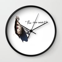vonnegut Wall Clocks featuring Birds and Kurt Vonnegut by Michelle Alexis Newman