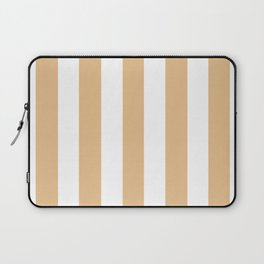 Gold (Crayola) pink - solid color - white vertical lines pattern Laptop Sleeve
