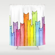 Rainbow of Cats Funny Whimsical Colorful Cat Animals Shower Curtain
