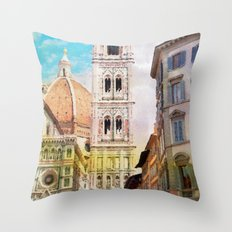 Florence watercolor painting Throw Pillow