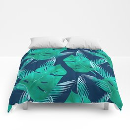 TROPICAL PATTERN BANANA LEAVES WATERCOLOR Comforters
