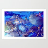 ghibli Art Prints featuring Ghibli sky by hasu
