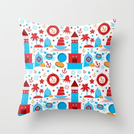 pattern with sea icons on white background. Seamless pattern. Red and blue Throw Pillow