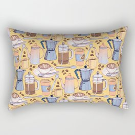 Coffee Love on Yellow Rectangular Pillow