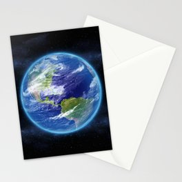 Planet Earth in Space Stationery Cards