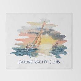 Sailing Yacht Club Blue Words Color Throw Blanket