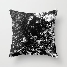Black and White Urban Abstract Scratch Pattern Throw Pillow