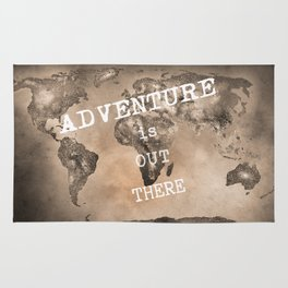 """""""Adventure is out there"""". Stars world map. Sepia. World map. Rug"""