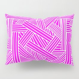Sketchy Abstract (White & Magenta Pattern) Pillow Sham