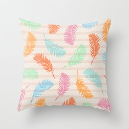 Dancing summer feathers Throw Pillow