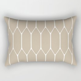Long Honeycomb Geometric Minimalist Pattern in White and Neutral Flax Rectangular Pillow