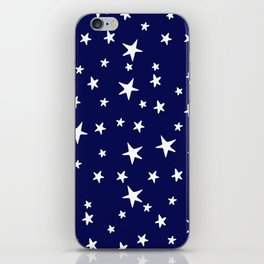 Stars - White on Dark Royal Blue iPhone Skin
