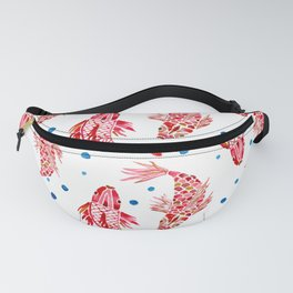 Pisces Koi carp two fishes aquarelle watercolor pattern Fanny Pack