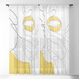 Bold Mustard Lip Sheer Curtain