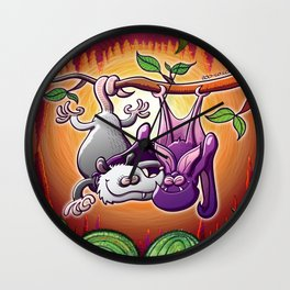 Opossum and Bat in Love Wall Clock