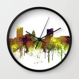 Fort Wayne, Indiana Skyline SG - Safari Buff Wall Clock