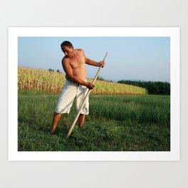 Farmer in Fields Art Print