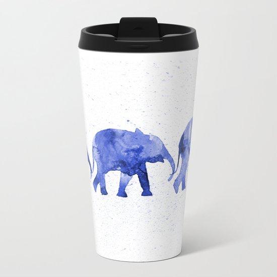Blue elephants Metal Travel Mug
