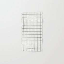 Small Grid Pattern - White Hand & Bath Towel