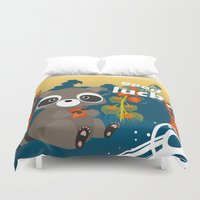racoon Duvet Covers featuring Lucky racoon by MonsterFromTheLAke