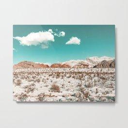 Vintage Desert Snow // Mojave Mountain Range at Red Rock Canyon in Las Vegas Landscape Photograph Metal Print