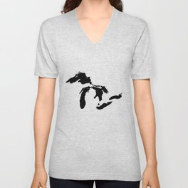 Map of the Great Lakes Unisex V-Neck