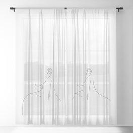 Womans neckline illustration - Uma Sheer Curtain