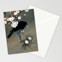 Vintage Japanese Crow and Blossom Woodblock Print Stationery Cards