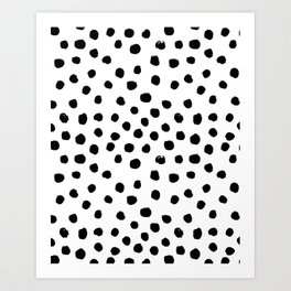 Preppy black and white dots minimal abstract brushstrokes painting illustration pattern print Art Print