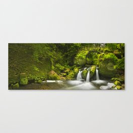 Stone bridge and waterfall in Luxembourg Canvas Print
