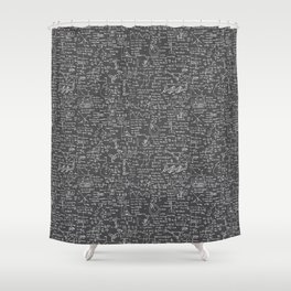Physics Equations // Charcoal Grey Shower Curtain