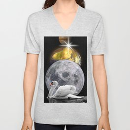 Planets Swan by GEN Z Unisex V-Neck