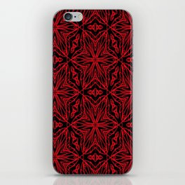 Black and red geometric flowers 5006 iPhone Skin