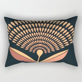 Mid Century Modern Dandelion Seed Head In Coral and Pink Rectangular Pillow