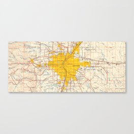 Denver map year 1958, old map, us maps, usa maps, vintage maps Canvas Print