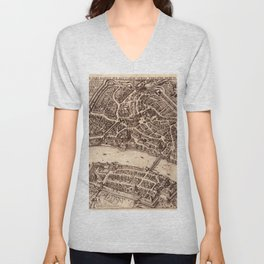 Map Of Basel 1615 Unisex V-Neck