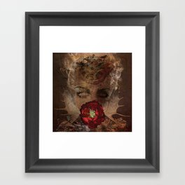 Lady with the red rose Framed Art Print